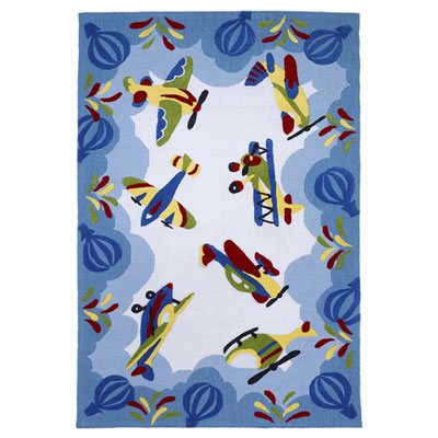 KAS Oriental Rugs. Inc. Kolorful Kidz 5 x 7 Blue Friendly Skies 4118
