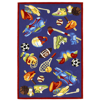KAS Oriental Rugs. Inc. Kolorful Kidz 5 x 7 Royal Blue Sports Fun 4119