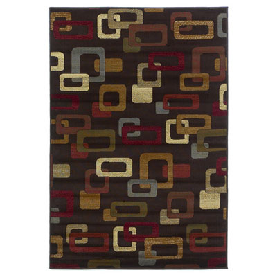 KAS Oriental Rugs. Inc. Lifestyles Contemporary 8 Round Mocha Frames 5424