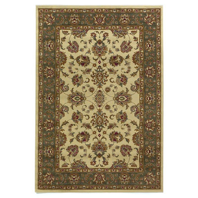 KAS Oriental Rugs. Inc. Lifestyles Traditional 5 Round Ivory Green Kashan 5430