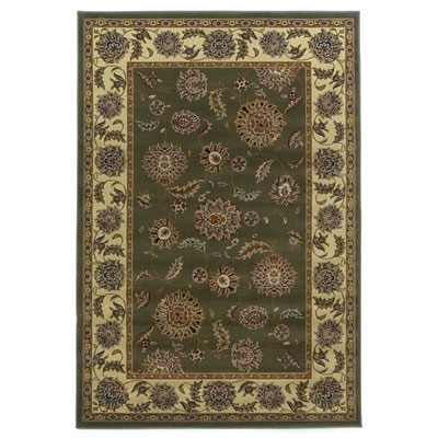 KAS Oriental Rugs. Inc. Lifestyles Traditional 5 Round Green Ivory Kashan 5433