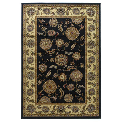 KAS Oriental Rugs. Inc. Lifestyles Traditional 8 Round Black Ivory Kashan 5436