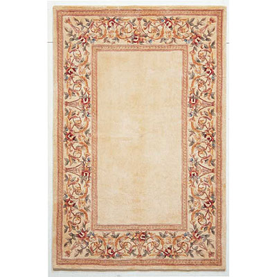 KAS Oriental Rugs. Inc. Ruby 3 x 5 Ruby Ivory/Ivory Floral Border 8928