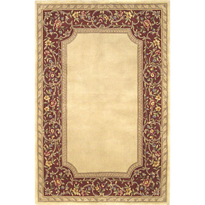 KAS Oriental Rugs. Inc. Ruby Runner 2 x 9 Ruby Ivory/Rust English Framework 8936
