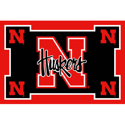 Logo Rugs Nebraska University Nebraska Area Rug 4 x 6 NEAR6