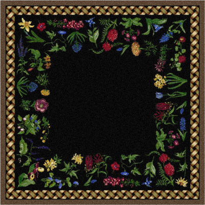 Milliken Antique Botanical 7470/202 8 x 11 Ebony Rabbit 370