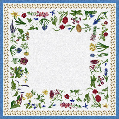 Milliken Antique Botanical 7470/217 2 x 8 Runner Fresh Blue 549