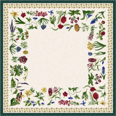 Milliken Antique Botanical 7470/217 2 x 8 Runner Tealed Gray 567