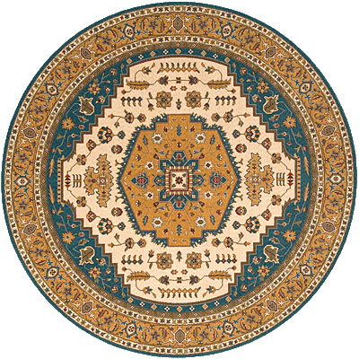Momeni, Inc. Persian Garden 8 Round Teal Blue PG-03