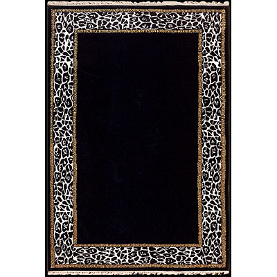 Nejad Rugs African Safari 4 x 6 Animal Skin Border Black/Off White T018 BKWH