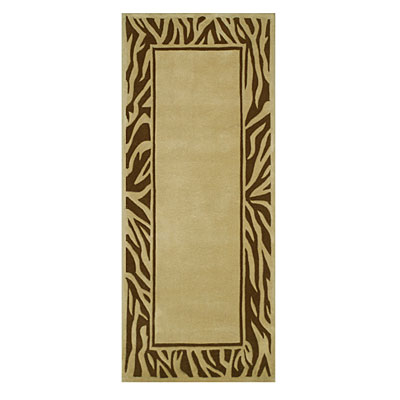 Nejad Rugs African Safari 3 x 8 Runner Zebra Border Beige/Brown WK010 BGBN