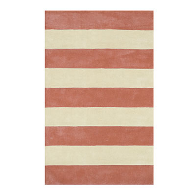 Nejad Rugs Boardwalk Stripes 5 x 8 Light Coral/Ivory AT064 LCIY