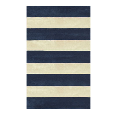 Nejad Rugs Boardwalk Stripes 5 x 8 Navy/Ivory AT064 NYIY