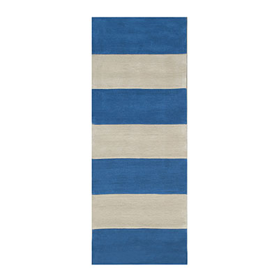 Nejad Rugs Boardwalk Stripes 3 x 8 Runner Blue/Ivory AT064 BLIY