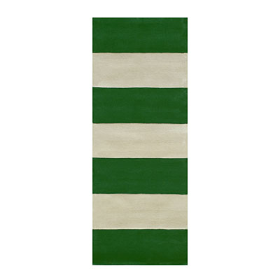 Nejad Rugs Boardwalk Stripes 3 x 12 Runner Emerald/Ivory AT064 EMIY