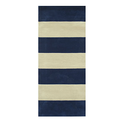 Nejad Rugs Boardwalk Stripes 3 x 12 Runner Navy/Ivory AT064 NYIY