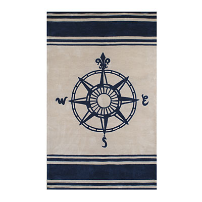 Nejad Rugs Classic Compass 5 x 8 Ivory/Navy AT075 IYNY