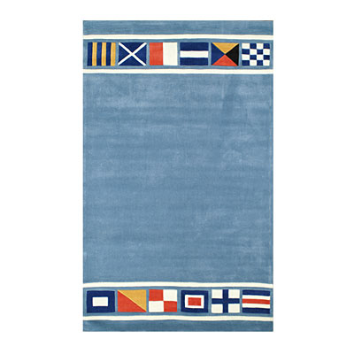 Nejad Rugs Nautical Flags 5 X 8 LIGHT BLUE AT042 LB