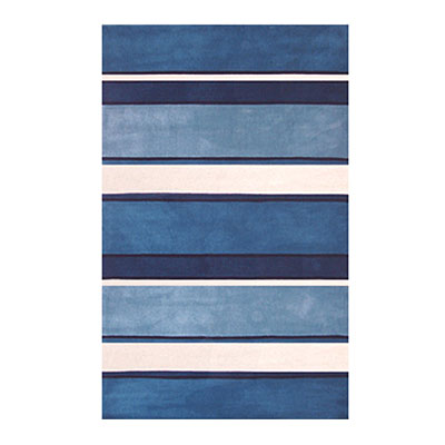 Nejad Rugs Ocean Stripes 4 x 6 BLUE/WHITE AT036 B&W