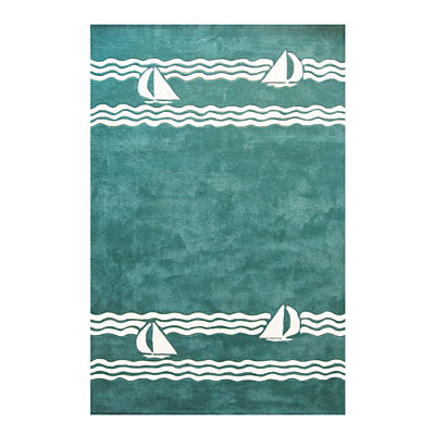 Nejad Rugs Sailboat 5 X 8 TEAL AT039 TL