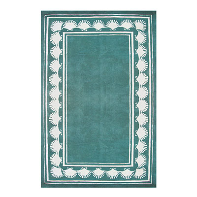 Nejad Rugs Shell Border 4 X 6 TEAL AT038 TL
