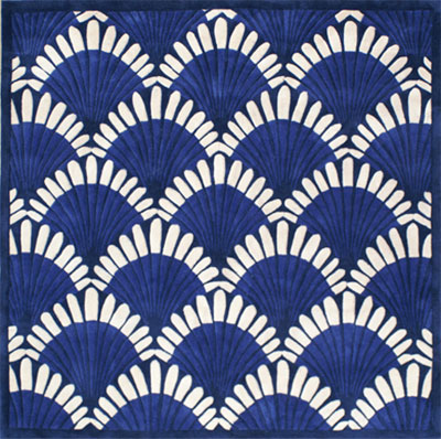 Nejad Rugs Shells Nouveau 6 Square Navy AT072 NY