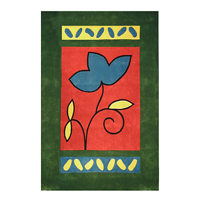Nejad Rugs The Bright Collection 5 x 8 A Single Flower Emerald/Rose AT001 EM/RS