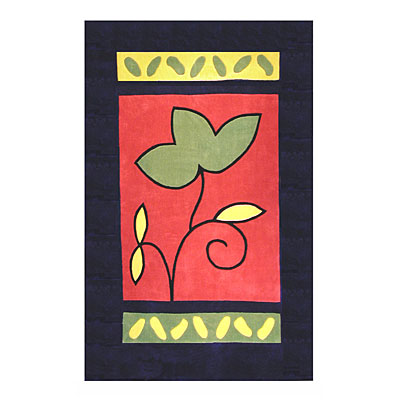 Nejad Rugs The Bright Collection 4 x 6 A Single Flower Navy/Rose AT001 NYRS