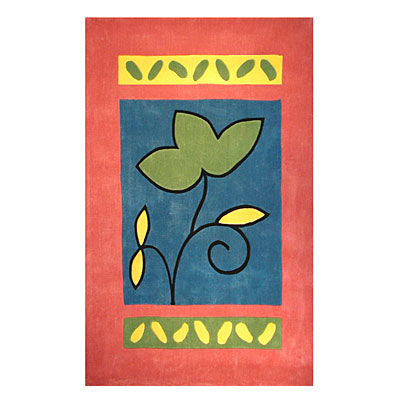 Nejad Rugs The Bright Collection 5 x 8 A Single Flower Rose/Blue AT001 RSBL