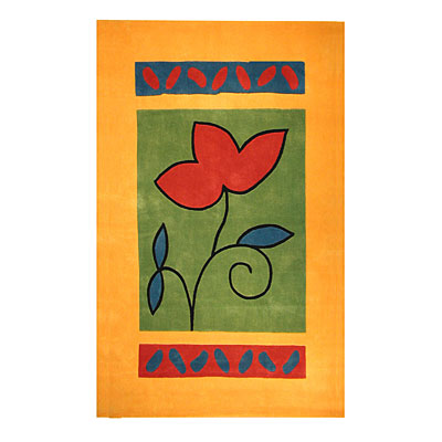 Nejad Rugs The Bright Collection 4 x 6 A Single Flower Yellow/Green AT001 YLGN