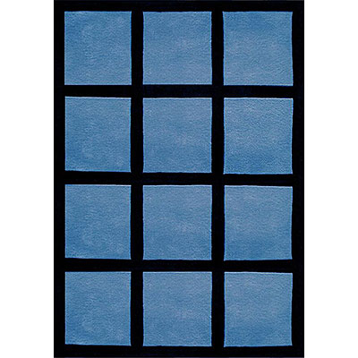 Nejad Rugs The Bright Collection 4 x 6 Window Blocks Blue/Black AT015 BL/BK
