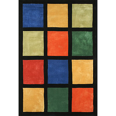 Nejad Rugs The Bright Collection 5 x 8 Window Blocks Multi/Black AT015 MT/BK
