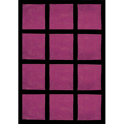 Nejad Rugs The Bright Collection 4 x 6 Window Blocks Purple/Black AT015 PR/BK