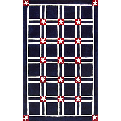 Nejad Rugs The Bright Collection 4 x 6 Stars & Stripes Navy/White AT027 NYWH