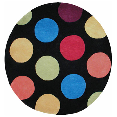 Nejad Rugs The Bright Collection 8 Round Dots Black AT011 BK