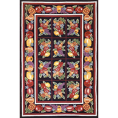 Nejad Rugs Bucks County - Fruit Pettipoint 3 x 8 Runner Black 1004BKBK