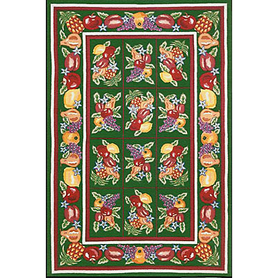 Nejad Rugs Bucks County - Fruit Pettipoint 2 x 3 Emerald Green 1004EMEM