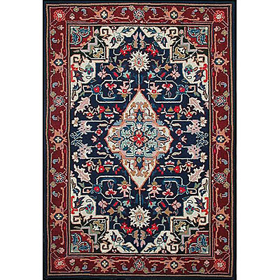 Nejad Rugs Bucks County - Heriz 3 x 8 Runner Navy/Burgundy 1001NYBR