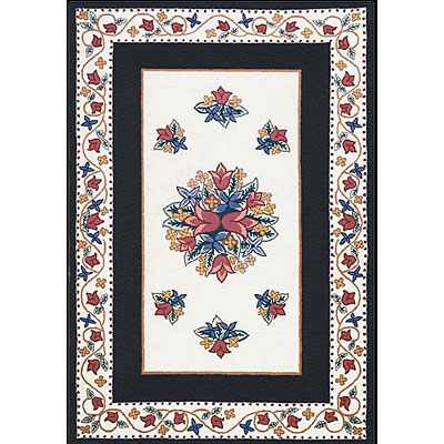 Nejad Rugs Bucks County - Tulip 3 x 8 Runner Ivory/Black 1003IYBK
