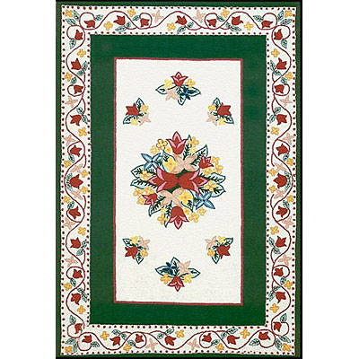 Nejad Rugs Bucks County - Tulip 3 x 5 Ivory/Emerald Green 1003IYEM