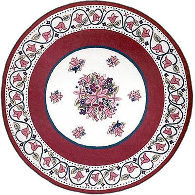 Nejad Rugs Bucks County - Tulip 5 Round Ivory/Dark Rose 1003IYRS
