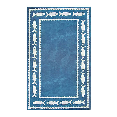 Nejad Rugs Fish Border 5 x 8 BLUE AT034 BL
