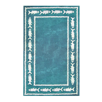 Nejad Rugs Fish Border 8 x 11 TEAL AT034 TL