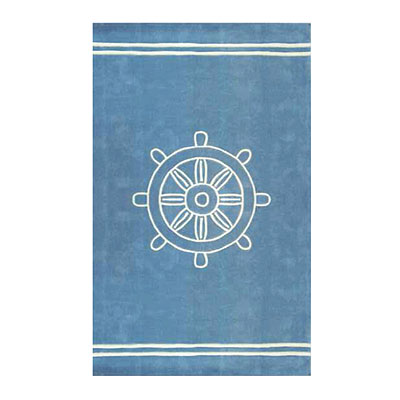 Nejad Rugs Ship Wheel 4 x 6 LIGHT BLUE AT021 LB
