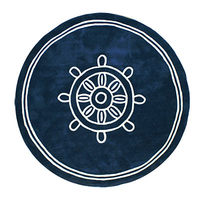 Nejad Rugs Ship Wheel 8 Square AT021 NY SHIP WHEEL NAVY RO