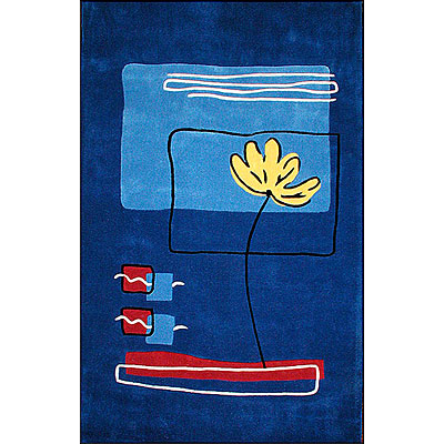 Nejad Rugs Flower in Ocean 5 x 8 Dark Blue AT003 DB