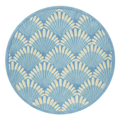 Nejad Rugs Shells Nouveau 5 Round Light Blue AT072 LB