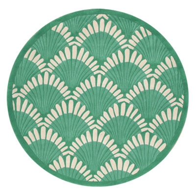 Nejad Rugs Shells Nouveau 5 Round Teal AT072 TL