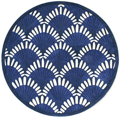 Nejad Rugs Shells Nouveau 5 Round Navy AT072 NY