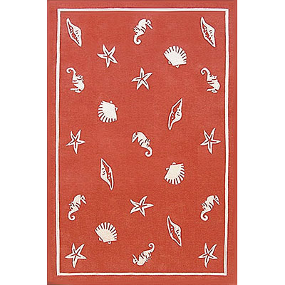 Nejad Rugs Shells & Seahorses 4 x 6 Coral AT041 CO